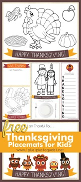 Printable Thanksgiving Activity Placemats for Kids