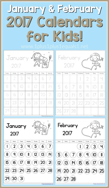 2017 Calendars for Kids January and February