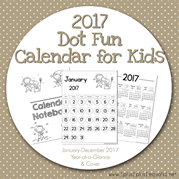 2017 Dot Fun Calendar for Kids