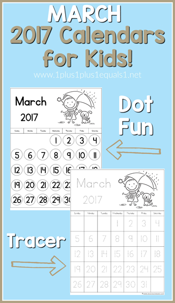 2017 Calendars for Kids March