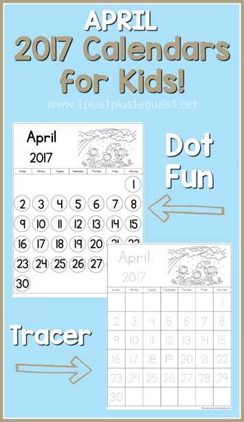 2017 Calendars for Kids April