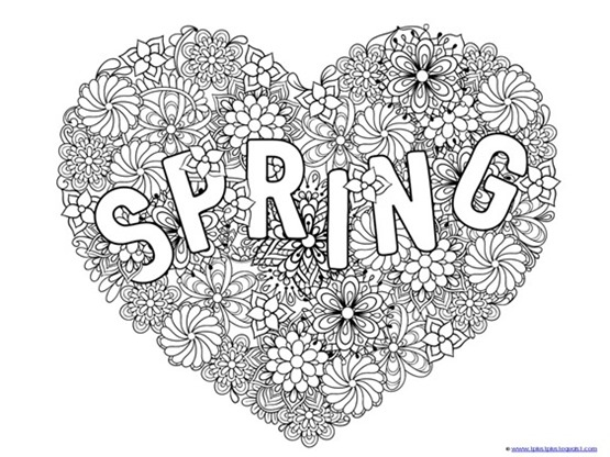 spring coloring pages detailed words - photo#26