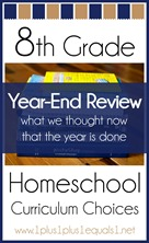 8th Grade Homeschool Curriculum Year End Review
