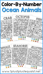Color by Number Ocean Animals