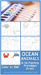 Ocean Animals Q-Tip Painting Printables