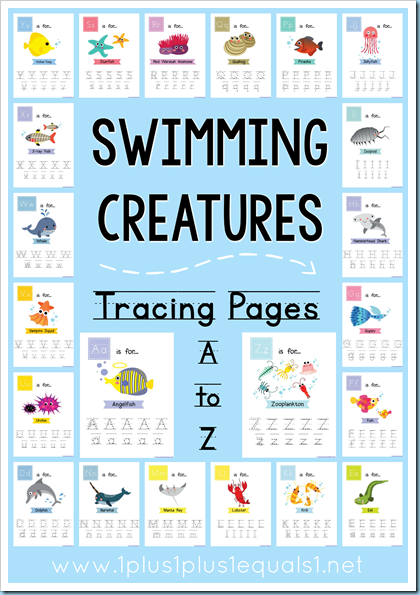 Swimming Creatures Tracing A to Z