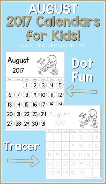 2017 Calendars for Kids August