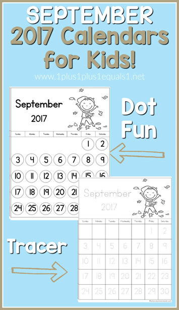2017 Calendars for Kids September