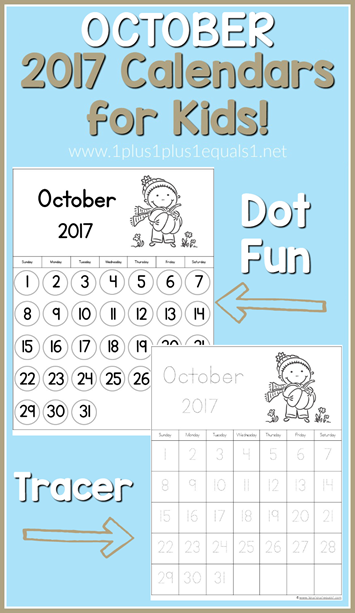 2017 Calendars for Kids October