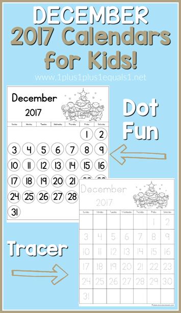 2017 Calendars for Kids December