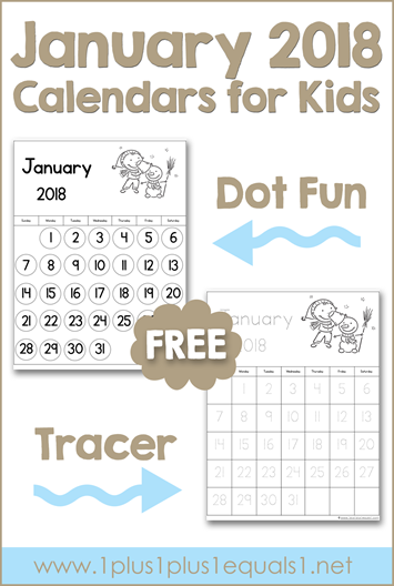 January Printable Calendars for Kids