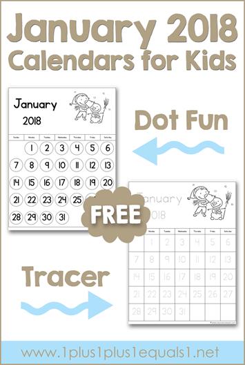 January Printable Calendars For Kids
