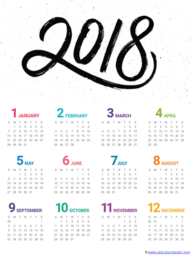 2018 year at a glance printable calendar 3