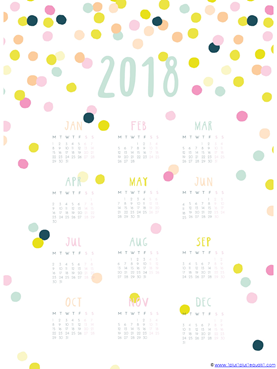 2018 year at a glance printable calendar 5