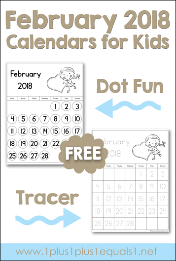February Printable Calendars for Kids