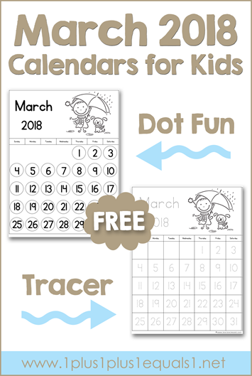 March Printable Calendars for Kids