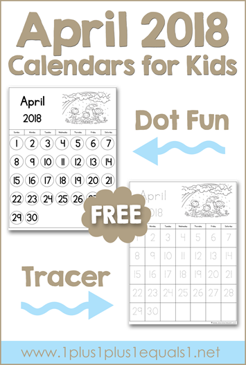 photo regarding Kid Printable Calendars known as April 2018 Printable Calendars for Youngsters - 1+1+1\u003d1