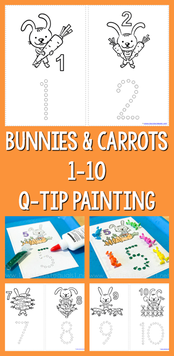 Bunnies and Carrots Q Tip Painting Printables