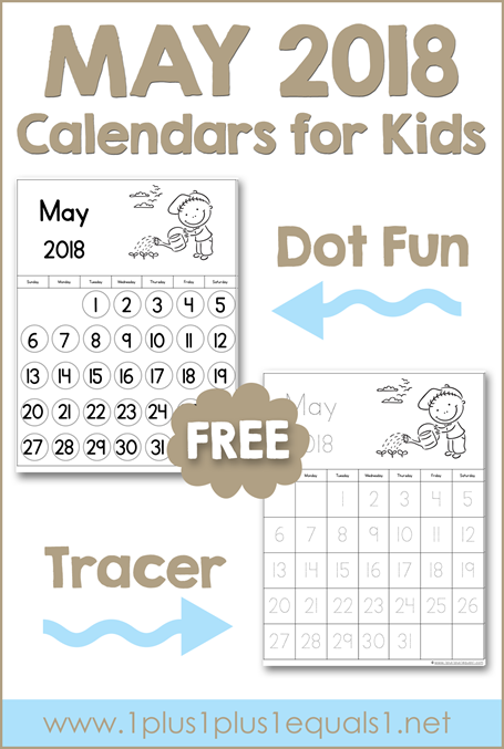 May Printable Calendars for Kids
