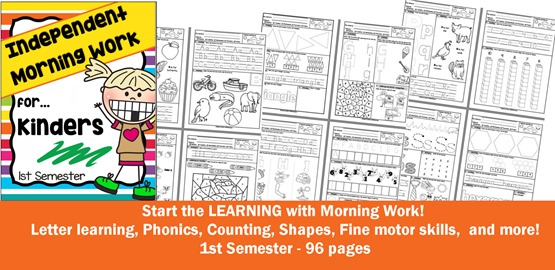 CHSH Independent Morning Work for Kinders ELB 1