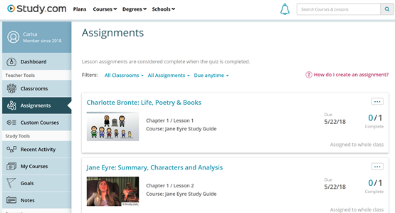 Jane Eyre assignments
