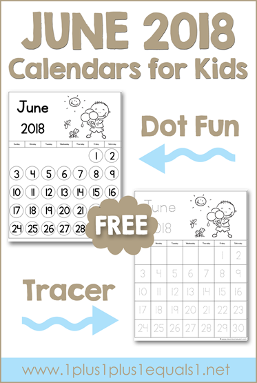 June Printable Calendars for Kids