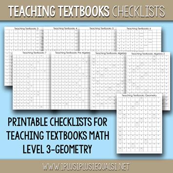 Teaching Textbooks Math Checklists