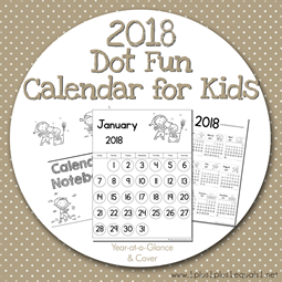 2018 Dot Fun Calendar for Kids