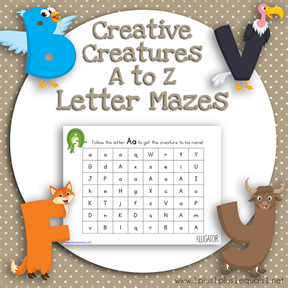 Creative Creatures A to Z Letter Mazes TN