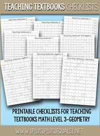 Teaching Textbooks Math Checklists P
