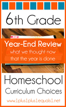 6th Grade Homeschool Curriculum Year End Review