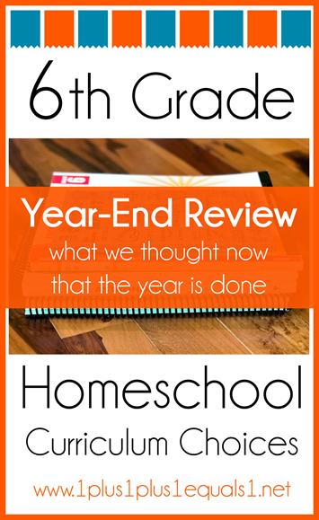 6th Grade Homeschool Curriculum Year End Review