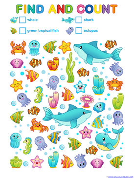 Ocean Animals Count and Color (4)