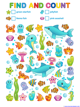 Ocean Animals Count and Color (5)