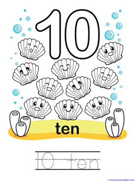 Ocean Animals Counting 0 through 10 Coloring Pages (1)