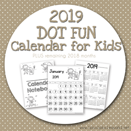 2019 Dot Fun Calendar for Kids