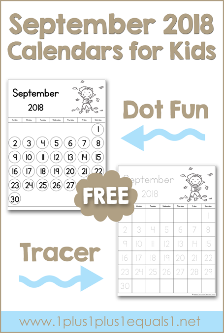 September Printable Calendars for Kids