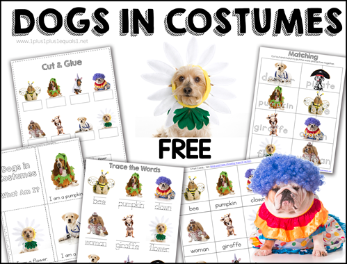 Dogs in Costumes Printables