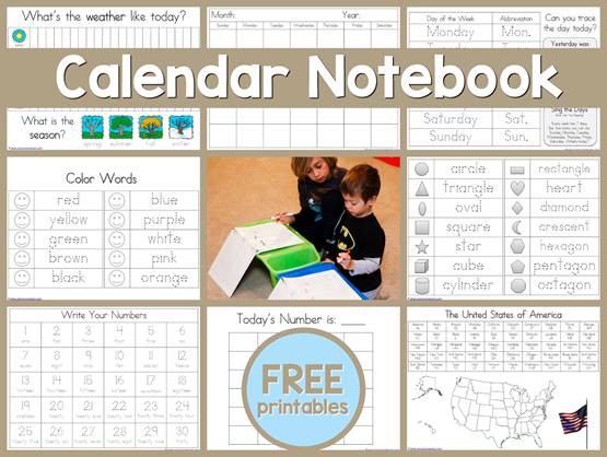 Free Daily Calendar Notebook Printables for Kids