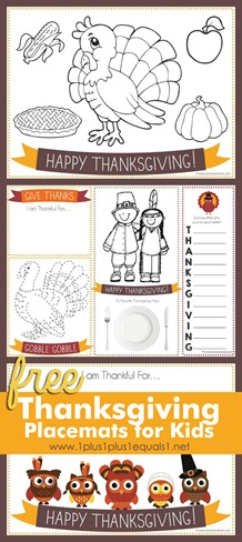 picture regarding Free Printable Thanksgiving Placemats identified as Printable Thanksgiving Placemats for Young children - 1+1+1\u003d1