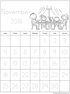 Nov. 2018 Calendars for Kids