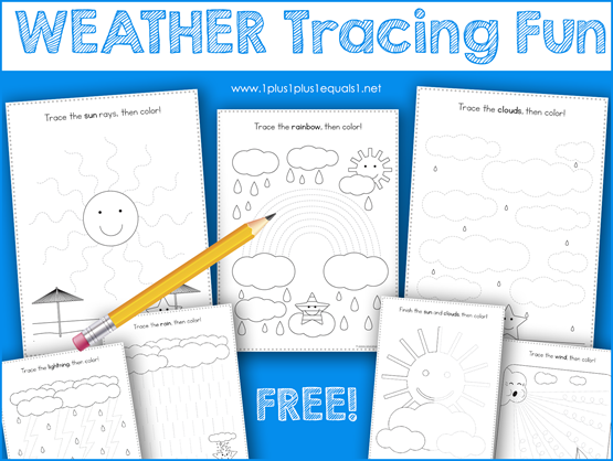 This Weather Theme Tracing Fun printable set is great for Tot School, Preschool and Kindergarten. Work on fine motor skills while tracing a sun, rain, rainbow, lightning and more fun weather activity pages. #1plus1plus1 #homeschool #homeschooling #totschool #preschool #preschoolers #preschoolactivities #preschool #homeschoolpreschool #kindergarten #kindergartenworksheets #kidsactivities #kidsprintables #freeprintablesforkids #tracing #finemotoractivities #earlychildhood