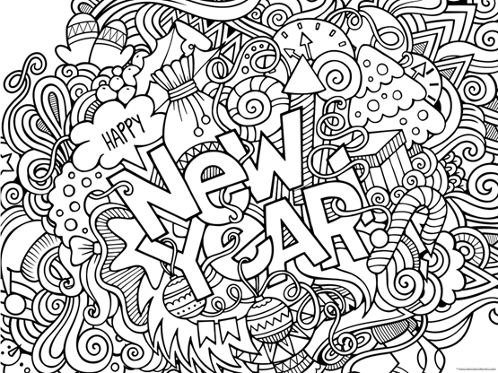 Happy New Year 2019 Coloring Pages 111 1