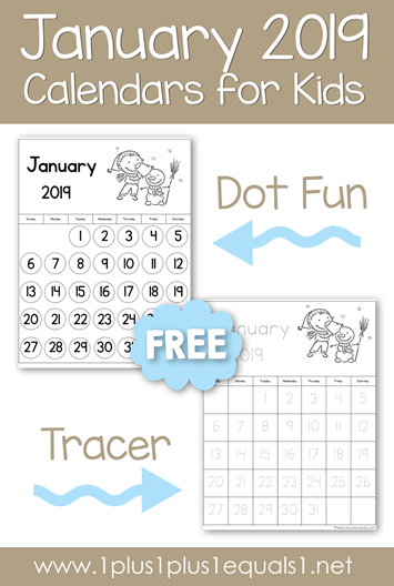 January 2019 Printable Calendars for Kids