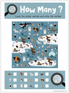 Arctic Animal I Spy Printable