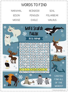 Arctic Animal Word Search Printable