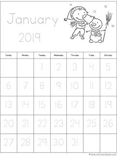 Kids 2019 January Calendar January 2019 Calendars for Kids   1+1+1=1