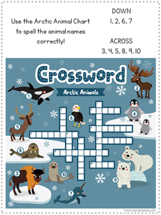 Arctic Animal Crossword Puzzle Printable
