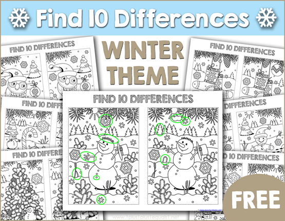 Find the Differences Winter Theme