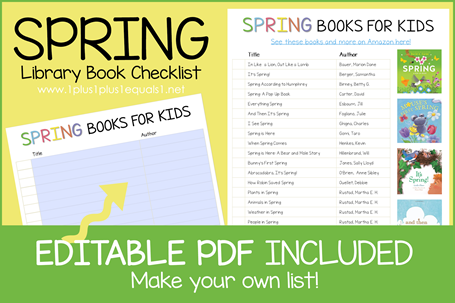 Spring Book Editable Book Checklist